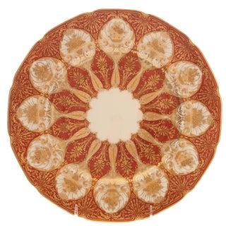 Set of 12 Orange and Heavily Gilded Service or Presentation Plates, Antique For Sale