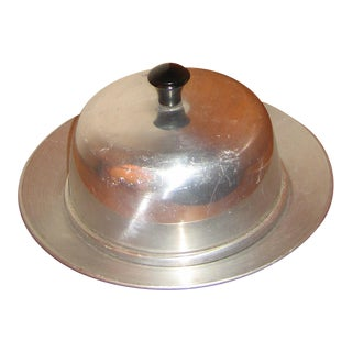Vintage Aluminum & Glass Lidded Serving Dish For Sale