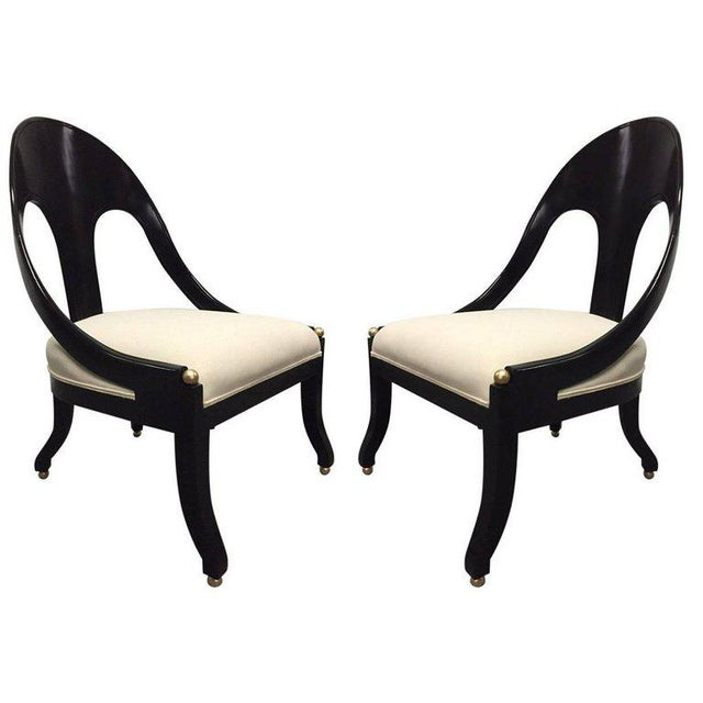 Pair of Neoclassical Style Lounge Chairs, Style of Michael Taylor for Baker - Image 6 of 6