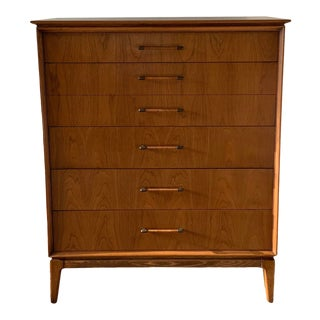 Vintage Century Furniture Co. Mid Century Walnut Tall Dresser For Sale