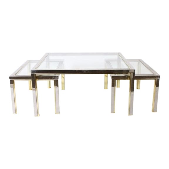 Set of Three Brass and Nickel Nesting Coffee Tables in the Style of Romeo Rega, C. 1970 For Sale