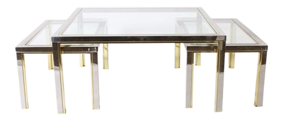 Set Of Three Brass And Nickel Nesting Coffee Tables In The Style Of Romeo  Rega,