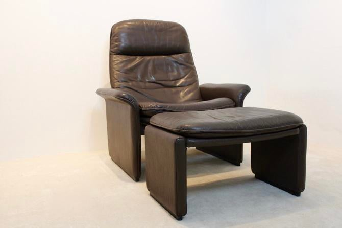 Superb De Sede DS 50 Adjustable Lounge Chair And Ottoman In Soft Thick Brown Neck  Leather