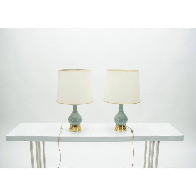 Blue Mid-Century Pair of French Light Blue Ceramic and Brass Lamps 1960s For Sale - Image 8 of 9