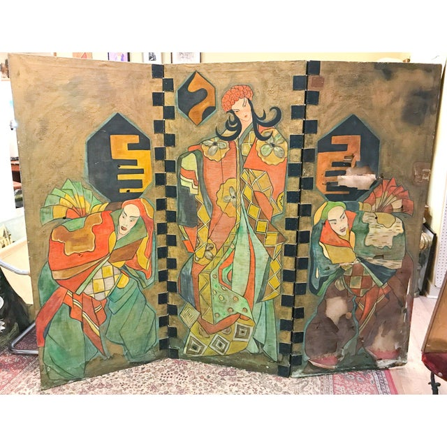 Antique Art Deco Asian Screen For Sale In New York - Image 6 of 11
