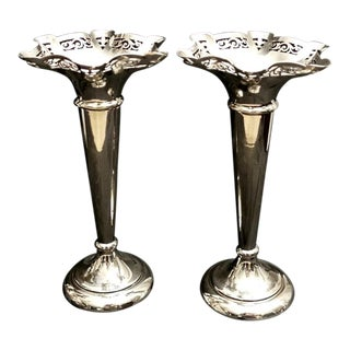Victorian Trumpet Vases in Silver Plated Epns - a Pair For Sale