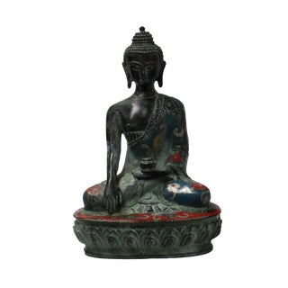 Chinese Metal Blue Enamel Cloisonne Sitting Buddha Statue For Sale