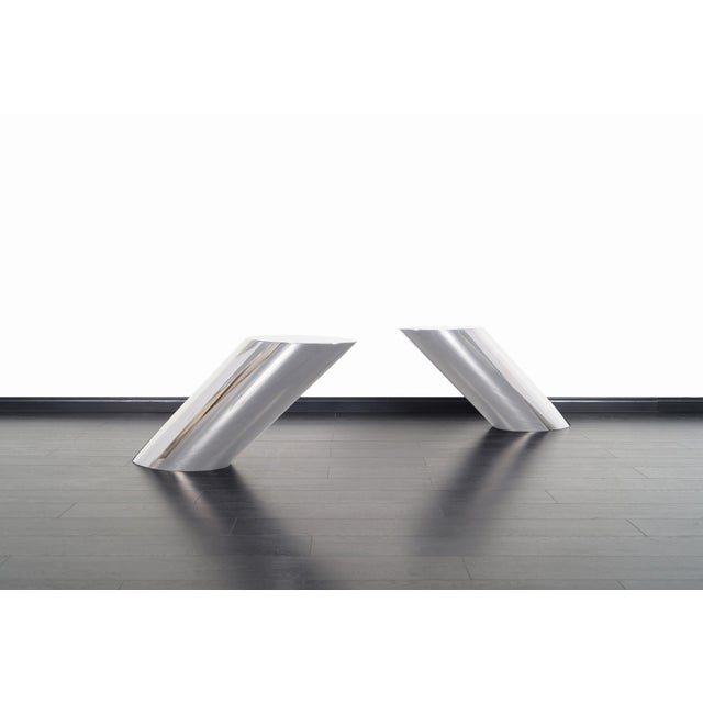 """Brueton Polished Steel """"Zephyr"""" Table by J. Wade Beam - a Pair For Sale In Los Angeles - Image 6 of 13"""