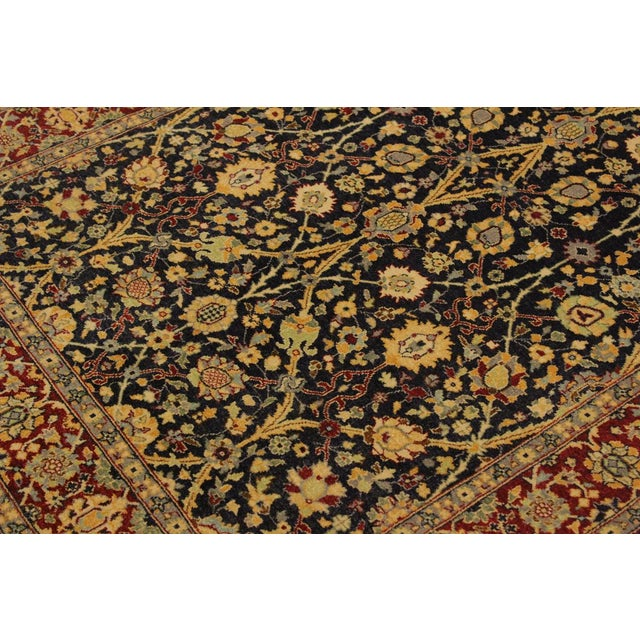 1980s Shabby Chic Istanbul Cristoph Blue/Red Turkish Hand-Knotted Rug -4'1 X 6'1 For Sale - Image 5 of 8