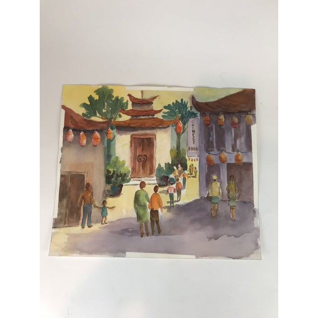 2010s Original Unframed Watercolor Chinatown Scene Painting For Sale - Image 5 of 5