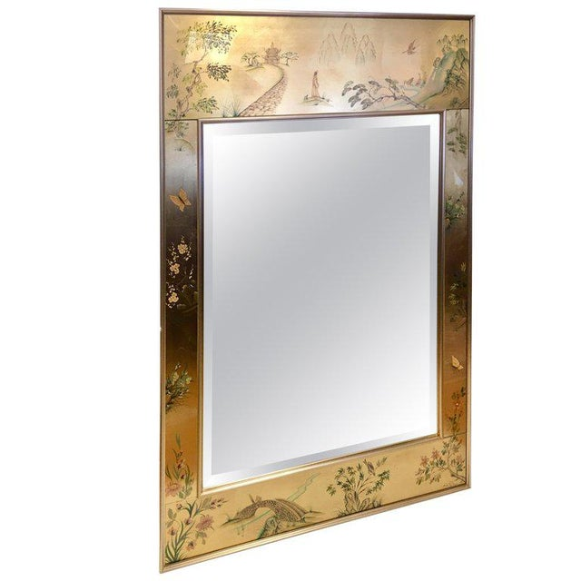 Asian Signed LaBarge La Barge Eglomise Reverse Painted Chinoiserie Wall Mirror DePrez For Sale - Image 3 of 3