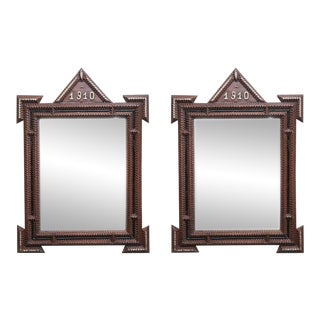 Tramp Art Mirrors c. 1910 - a Pair For Sale