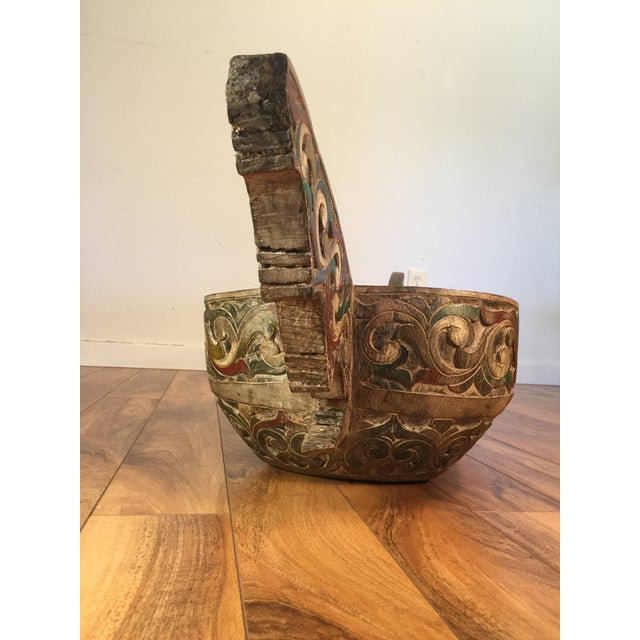 Filipino Carved & Painted Very Large Food Bowl - Image 5 of 8