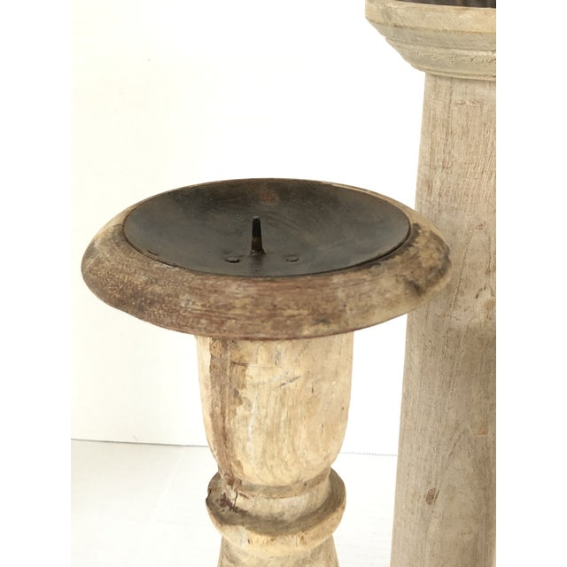 Rustic European European Rustic Candle Holders - Set of 3 For Sale - Image 3 of 5
