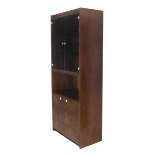 Pair of Burl Walnut Wall Unit Pieces w/ Interior Lights For Sale