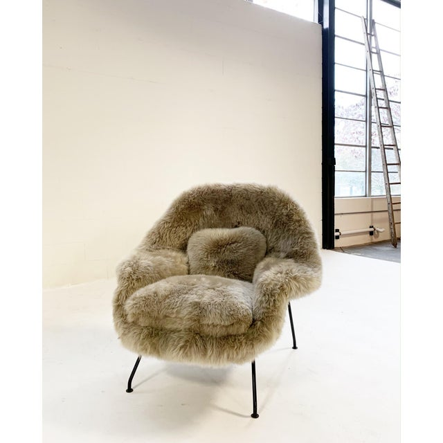 Knoll Vintage Eero Saarinen Womb Chair Restored in New Zealand Sheepskin For Sale - Image 4 of 10