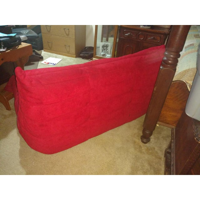 Ligne Roset Togo Red Suede Loveseat Couch - Image 5 of 11