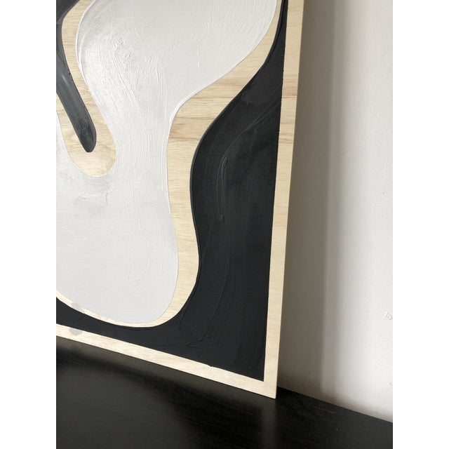 Wood Exposed Birch Wood Abstract Black and White Diptych For Sale - Image 7 of 10