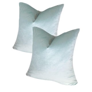 "22"" Robin's Egg Blue Luster Velvet Pillows - a Pair For Sale"