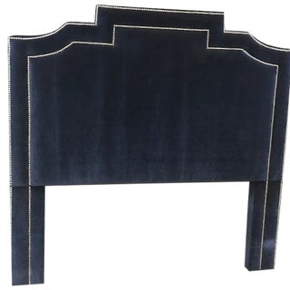 Navy Blue Genuine Mohair Upholstered Queen Size Headboard With Chrome Accents For Sale