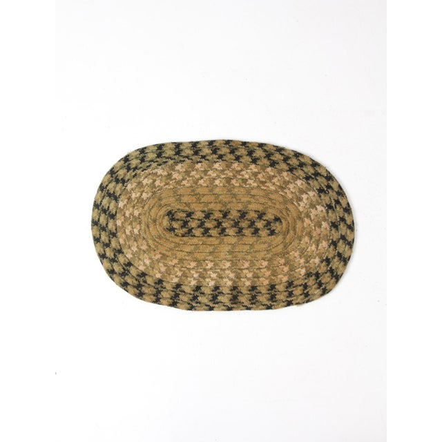 Rustic Vintage Braided Accent Rug For Sale - Image 3 of 7