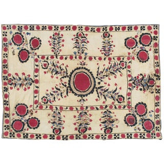 19th Century Asian Antique Suzani Handmade Silk Flowers Rug - 5x7 For Sale