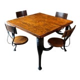 Image of Antique Industrial Swing Out Seat Ice Cream Parlor Table For Sale