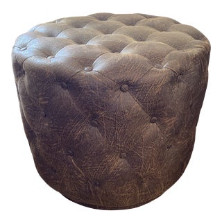 Vegan Pleather Tufted Round Ottoman For Sale