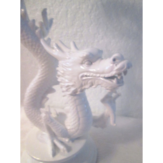 White Dragon Pillar Candle Holders - A Pair - Image 7 of 9