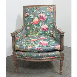 Louis XVI Carved Grey Paint Distressed Bergere Preview