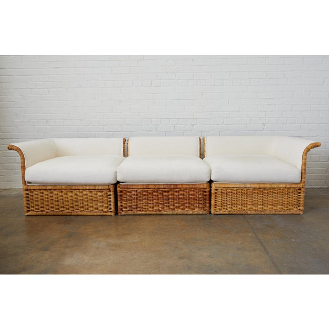 Michael Taylor Style Rattan Wicker Sectional Sofa For Sale - Image 9 of 13
