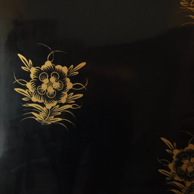Vintage Chinese 4 Panel Lacquered Hardstone Screen For Sale - Image 9 of 10
