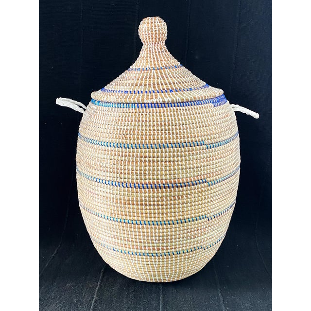Textile Basket With Lid Senegal West Africa For Sale - Image 7 of 8