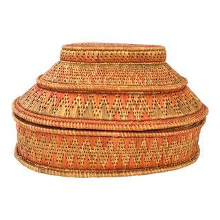 Vintage Pink & Green Handwoven Basket Large