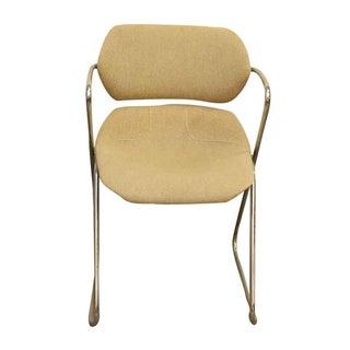Unique Bent Metal White Vinyl Mid-Century Desk Chair Preview