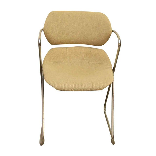 Unique Bent Metal White Vinyl Mid Century Desk Chair Chairish