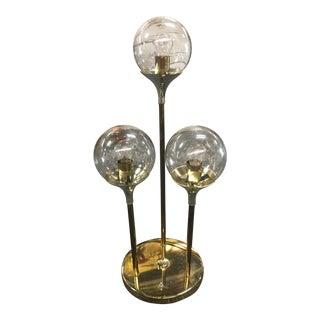 Mid Century Modern Lightolier 3 Globe Brass Table Lamp