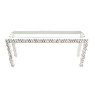Pineapple Pattern Carved White Lacquer Console Table For Sale