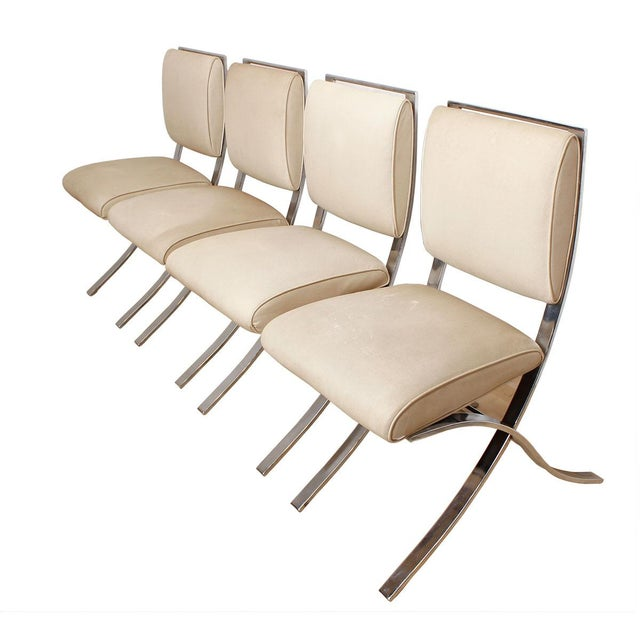 Barcelona Style Chrome & White Chairs - Set of 4 - Image 1 of 8