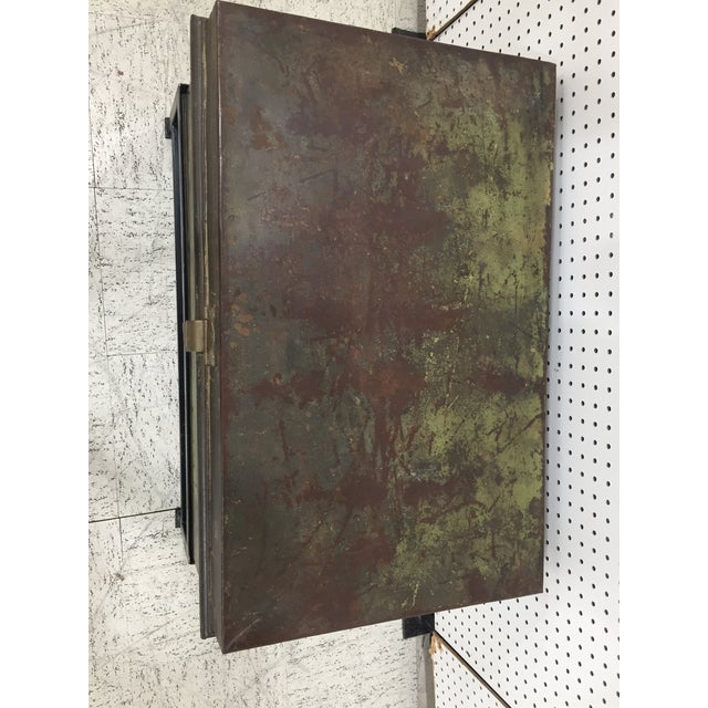 1900 - 1909 Antique English Military Metal Trunk on Stand For Sale - Image 5 of 7