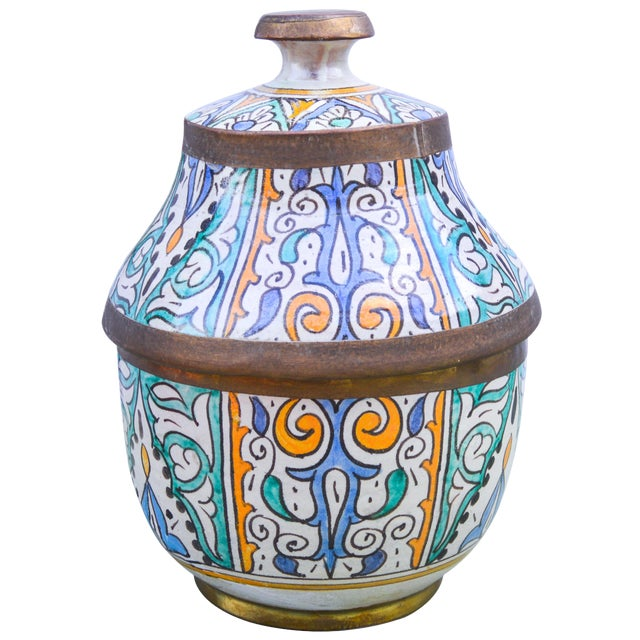 Moroccan Ceramic Lidded Bowl With Arabesque For Sale