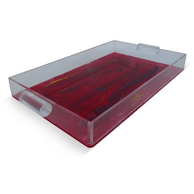 Lucite Tray With Abstract Painted Bottom - Image 2 of 4