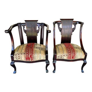 1940s Modern Him & Her Rosewood Arm Chairs - a Pair
