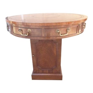 Smith & Watson Georgian Mahogany Leather Top Rent Lamp End Table For Sale