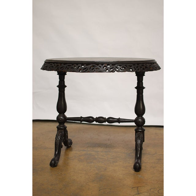 Vintage Carved Rosewood Oval Side Table - Image 2 of 6