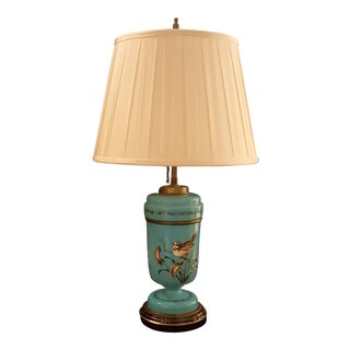 Vintage Hand Painted Blue Bristol Glass Lamp & Silk Shade For Sale