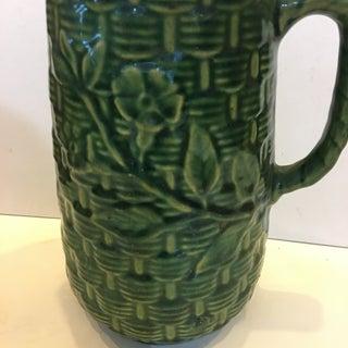 1960s Tall Textured Dark Green Basketweave Ceramic Jug Preview