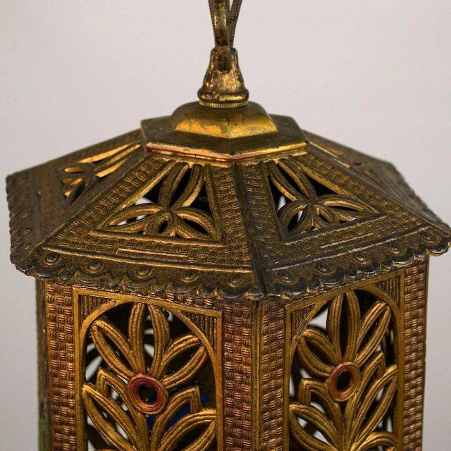 1930s 1930's American Polychrome Cast Metal Reticulated Lantern For Sale - Image 5 of 6