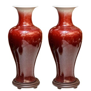 Large Oxblood Floor Vases - a Pair For Sale