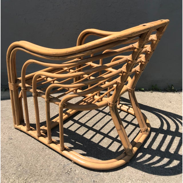 1970s 1970's Vintage Rattan Lounge Chair For Sale - Image 5 of 8